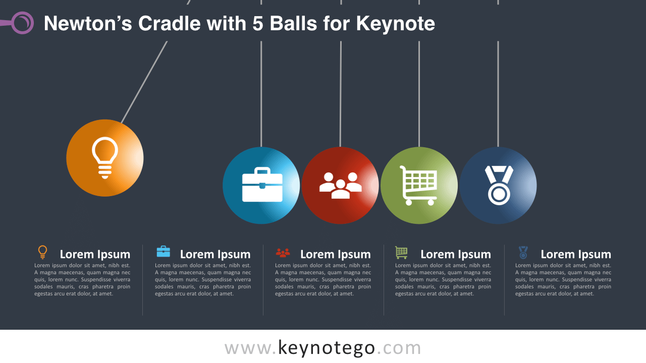 Newtons Cradle 5 Balls Keynote Template - Dark Background
