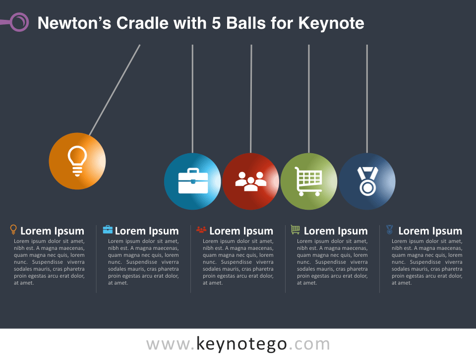 Newtons Cradle 5 Balls for Keynote - Dark Background