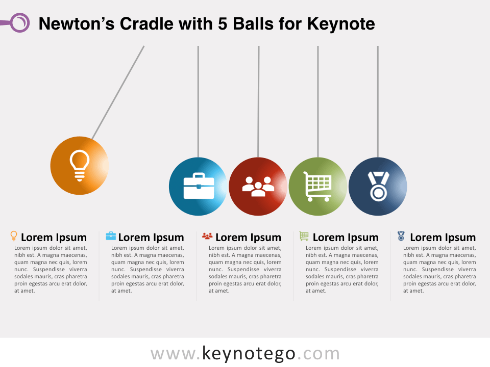Newtons Cradle 5 Balls for Keynote