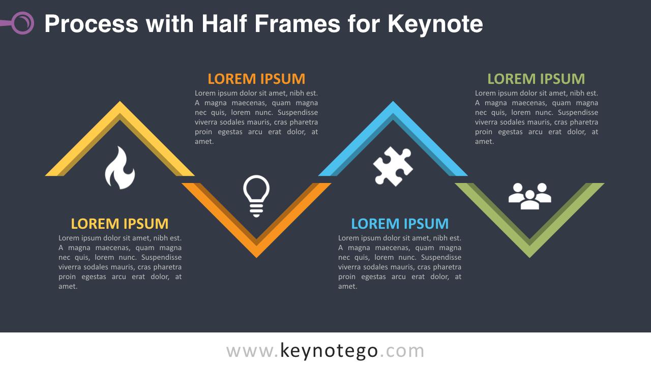 Process Diagram Half Frames Keynote Template - Dark Background