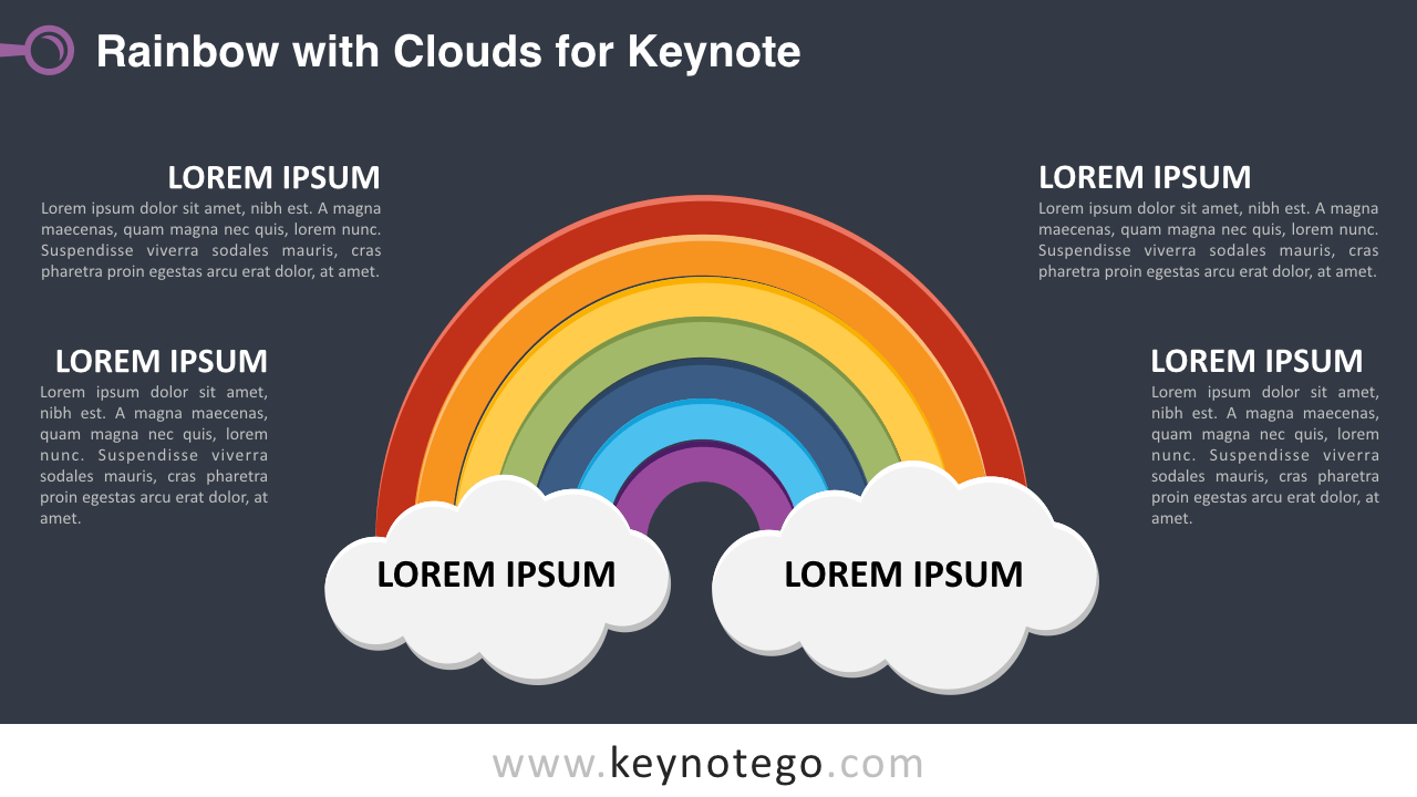 Rainbow 2 Clouds Keynote Template - Dark Background