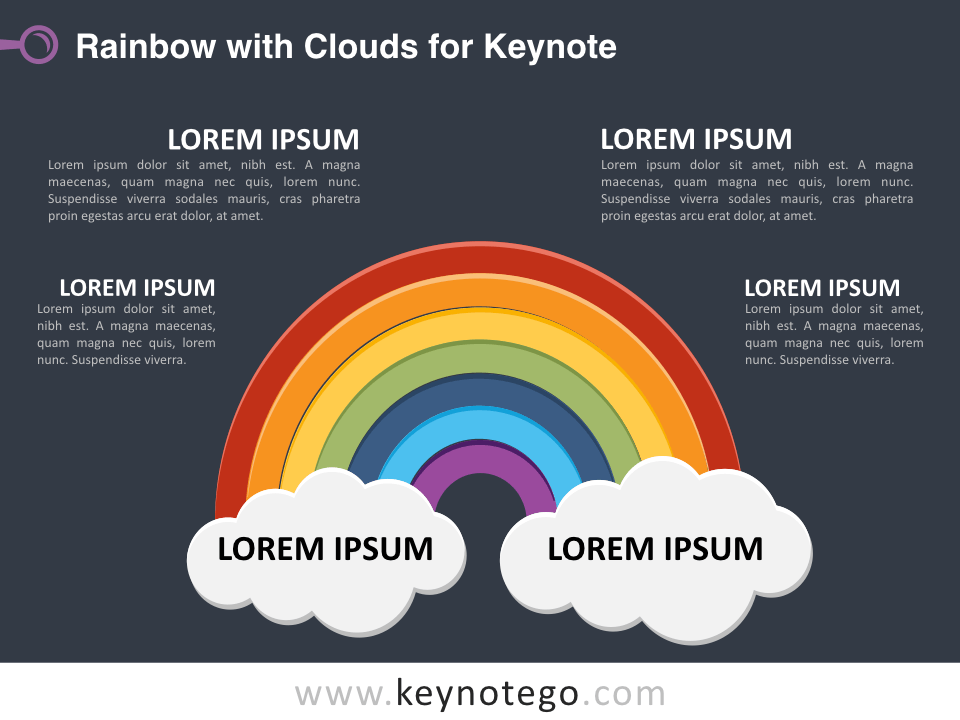 Rainbow Clouds for Keynote - Dark Background