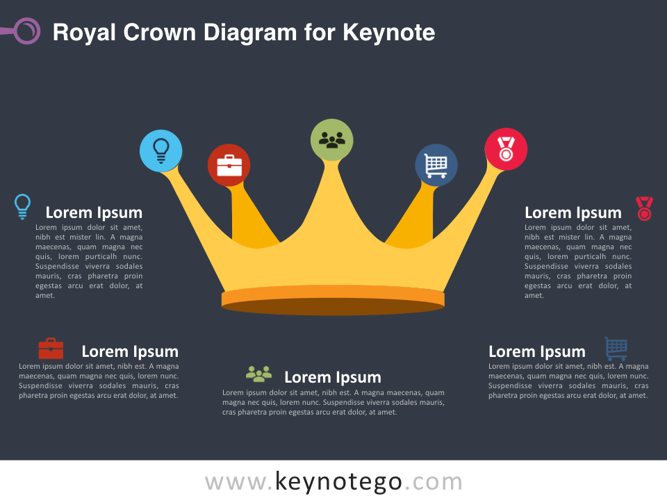 Royal Crown Diagram for Keynote - Dark Background