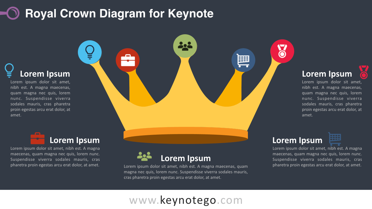 Royal Crown Keynote Template - Dark Background