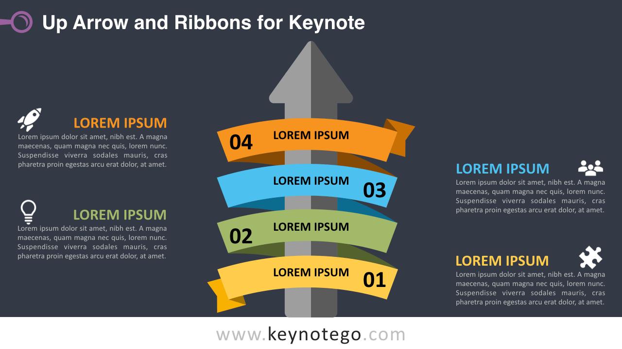 Up Arrow Ribbon Keynote Template - Dark Background