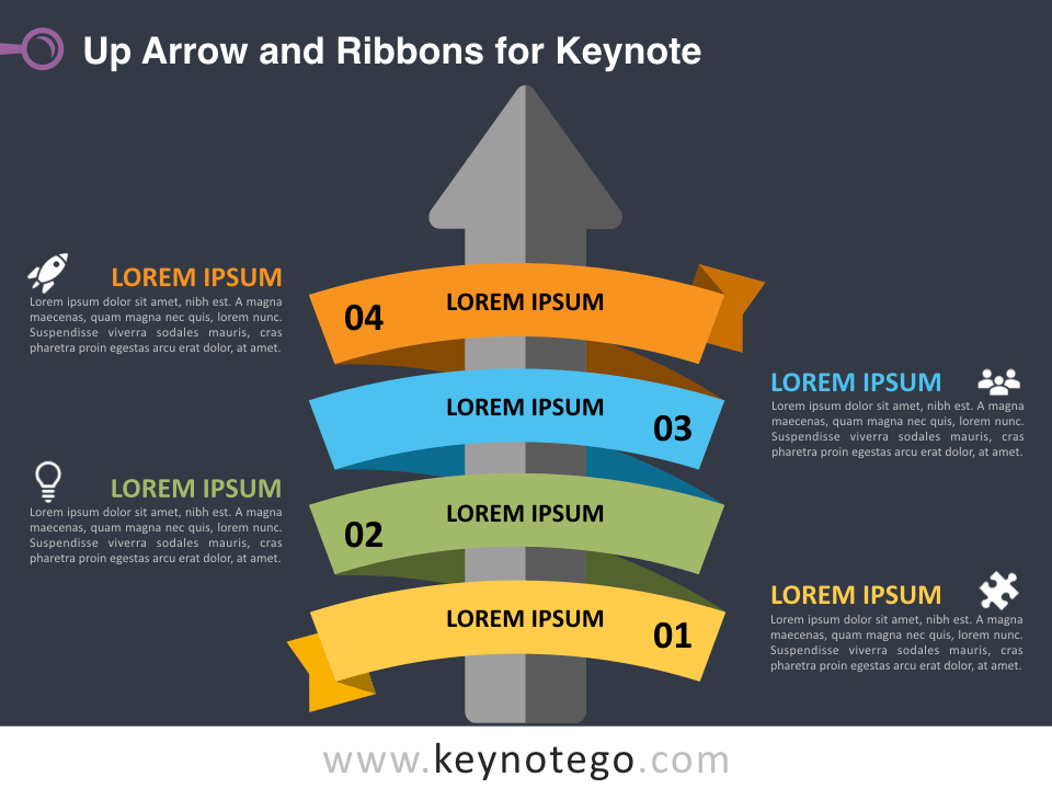 Up Arrow Ribbons for Keynote - Dark Background