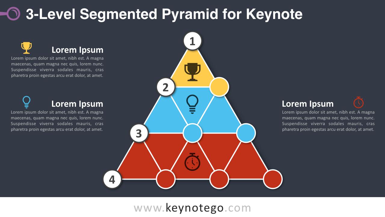 3-Level Segmented Pyramid Keynote Template - Dark Background