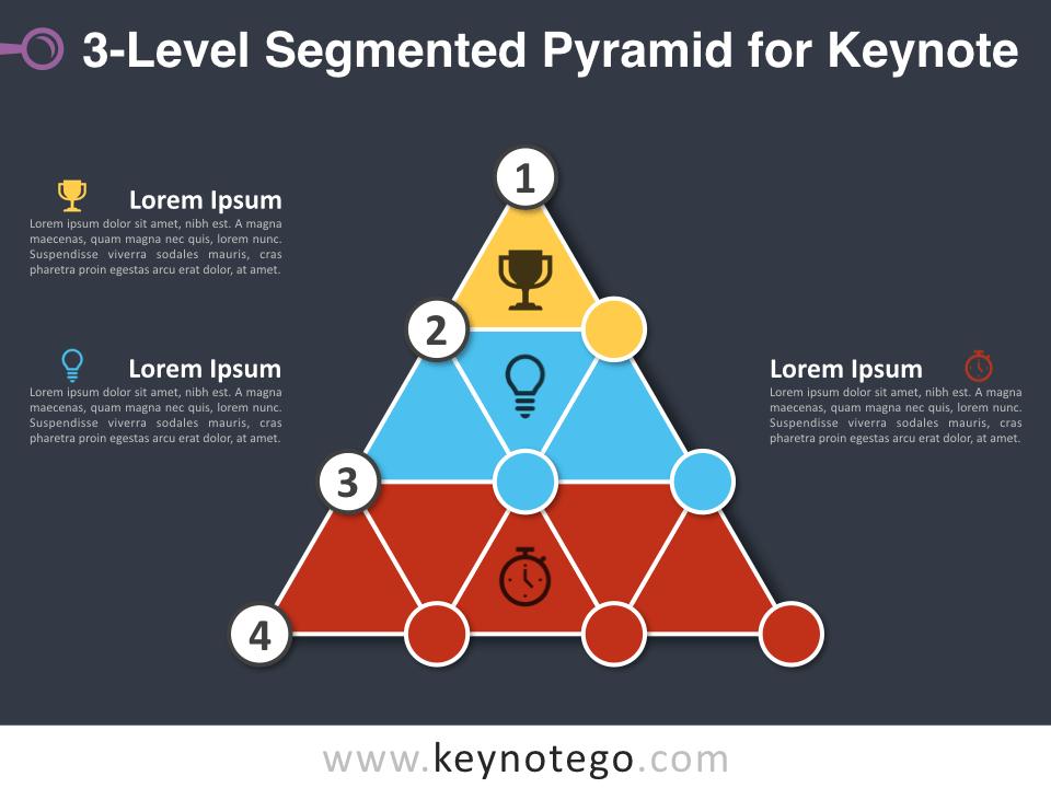 3 Level Segmented Pyramid for Keynote - Dark Background