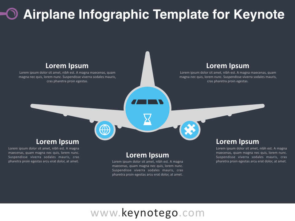 Airplane Infographic Template for Keynote - Dark Background