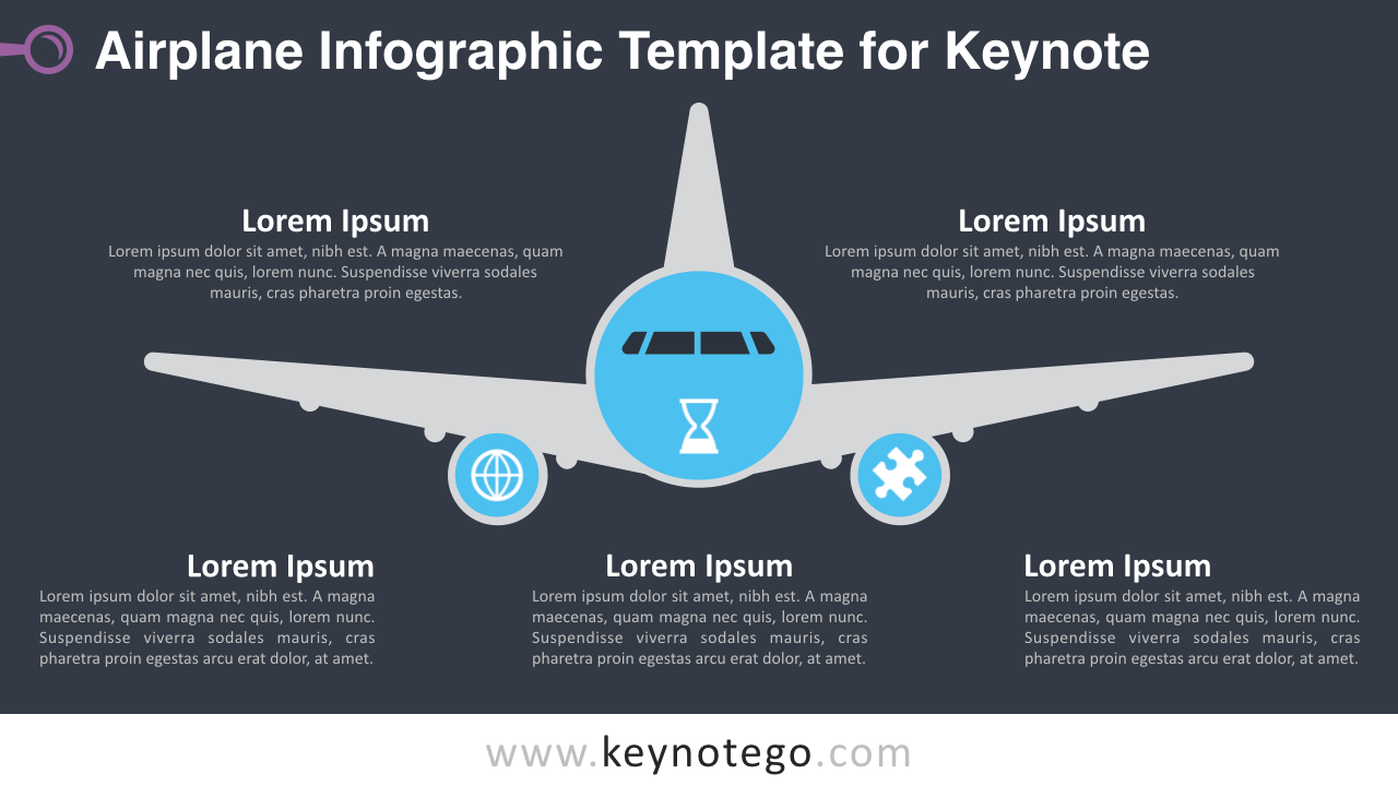 Airplane Infographics Keynote Template - Dark Background