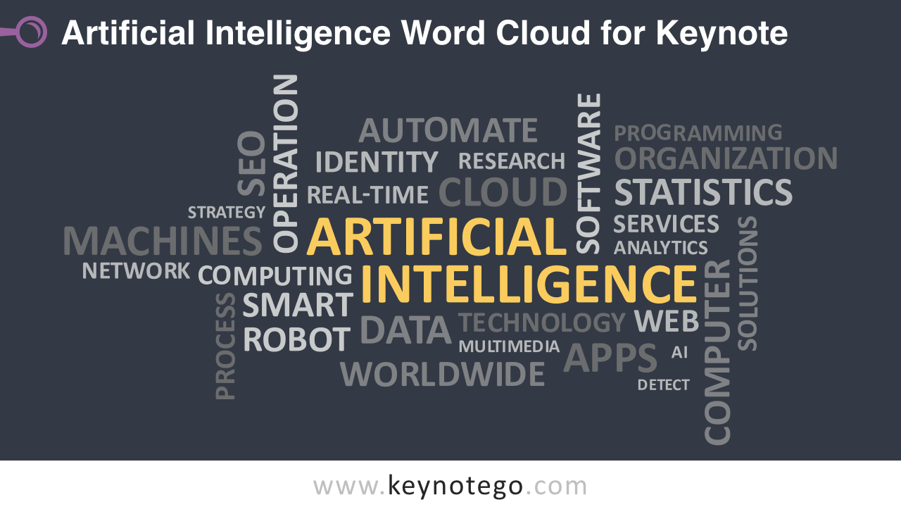 Artificial Intelligence AI Word Cloud Keynote Template - Dark Background