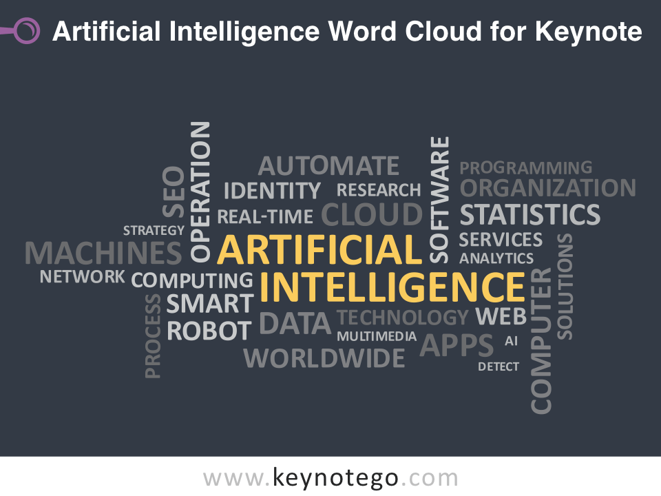 Artificial Intelligence Word Cloud for Keynote - Dark Background