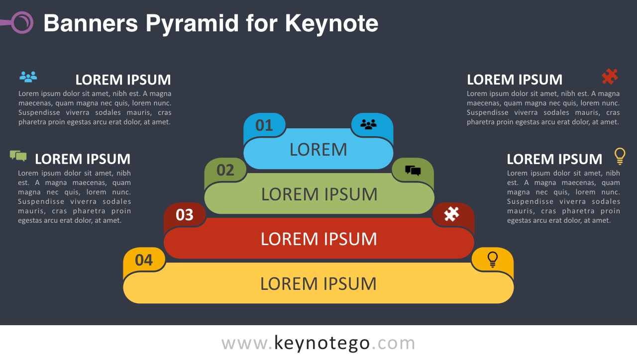 Banners Pyramid Diagram Keynote Template - Dark Background