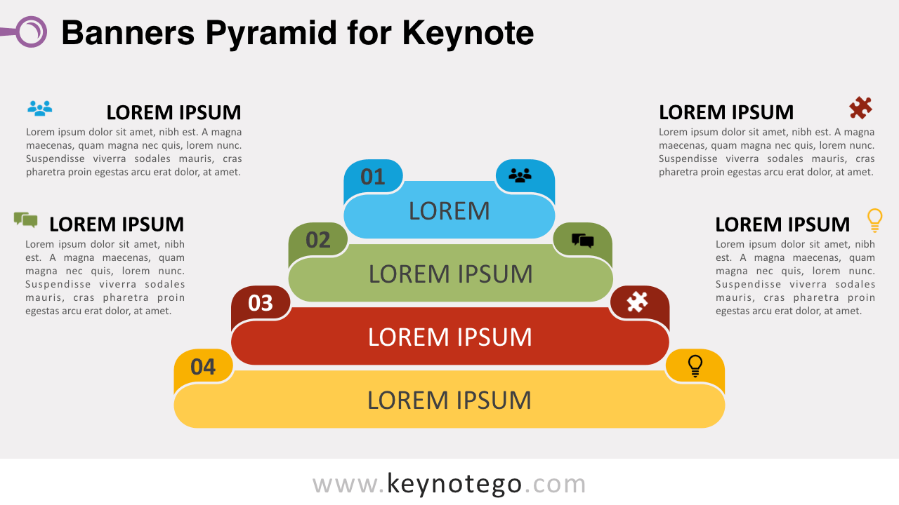 Banners Pyramid Diagram Keynote Template