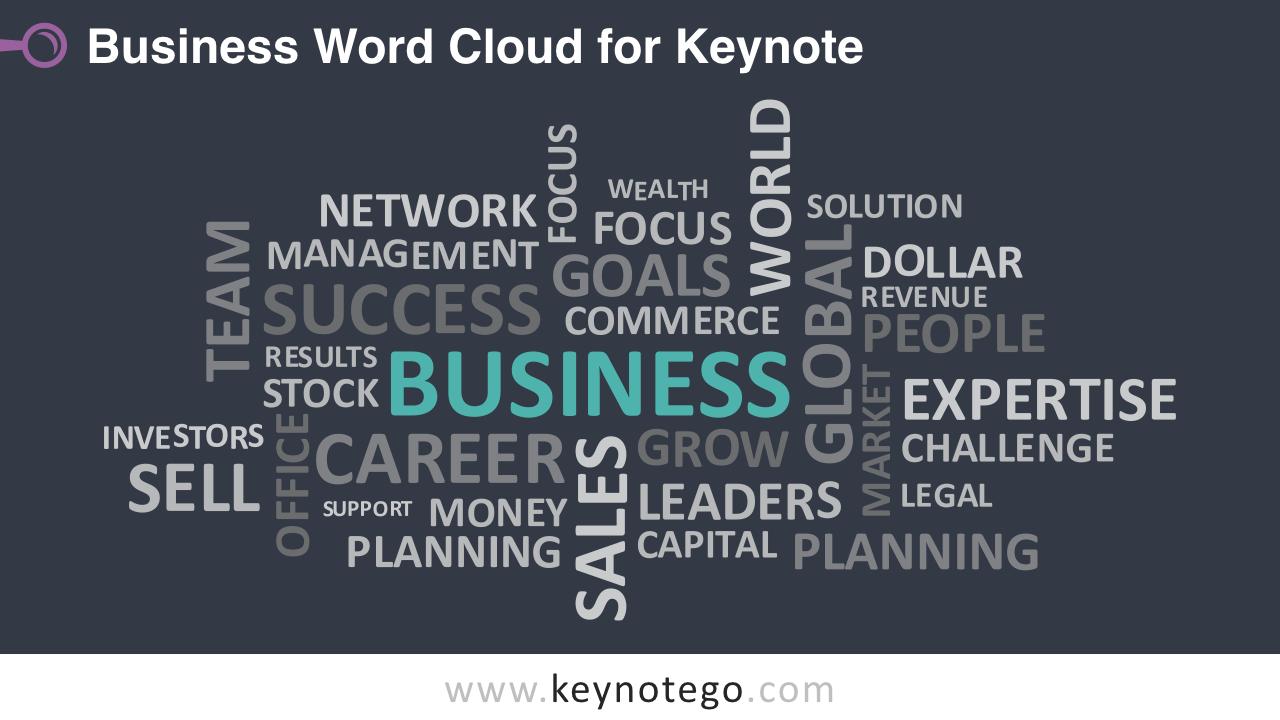 Business Word Tag Cloud Keynote Template - Dark Background
