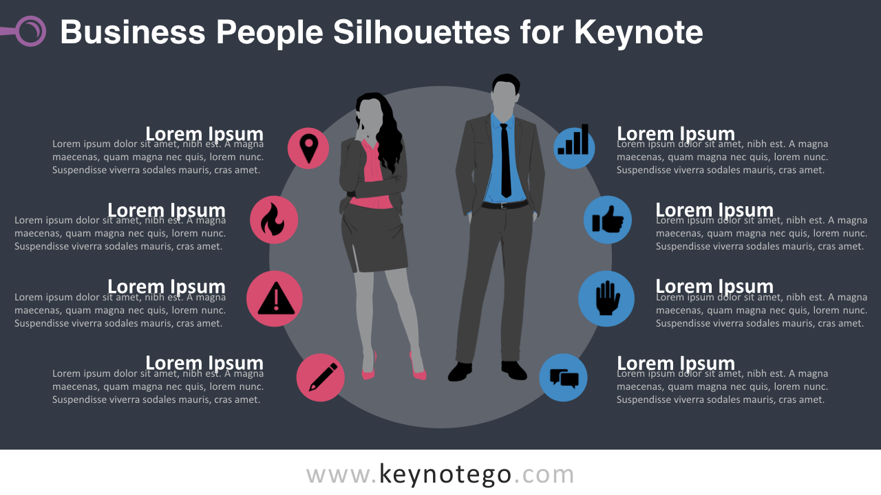 Businesswoman Businessman Silhouettes Keynote Template - Dark Background