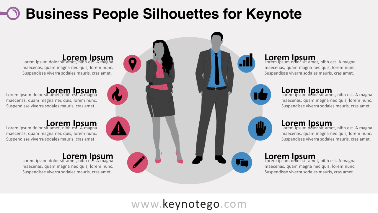 Businesswoman Businessman Silhouettes Keynote Template