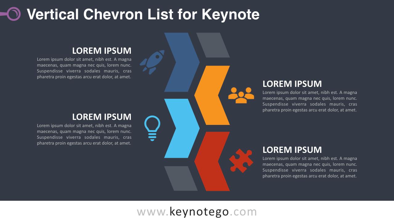 Chevron List Keynote Template - Dark Background