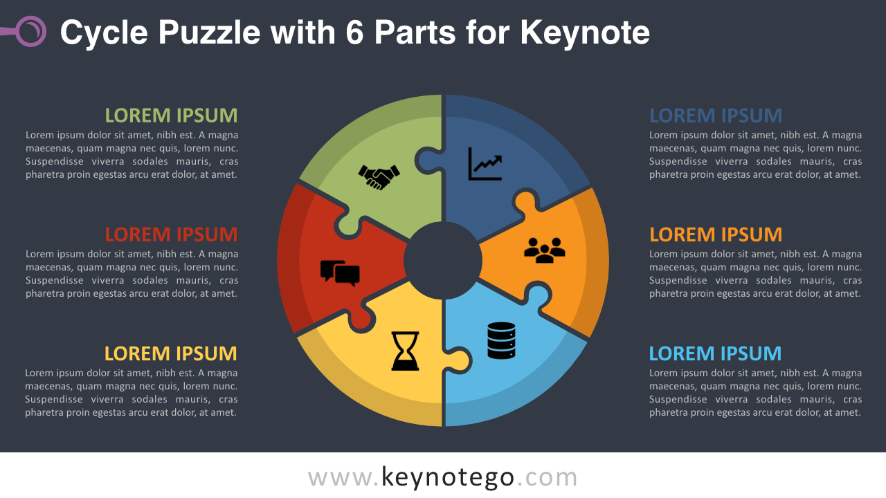 Cycle Puzzle 6 Parts Keynote Template - Dark Background