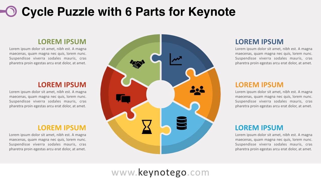 Cycle Puzzle 6 Parts Keynote Template