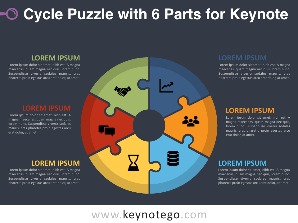 Cycle Puzzle 6 Parts for Keynote - Dark Background