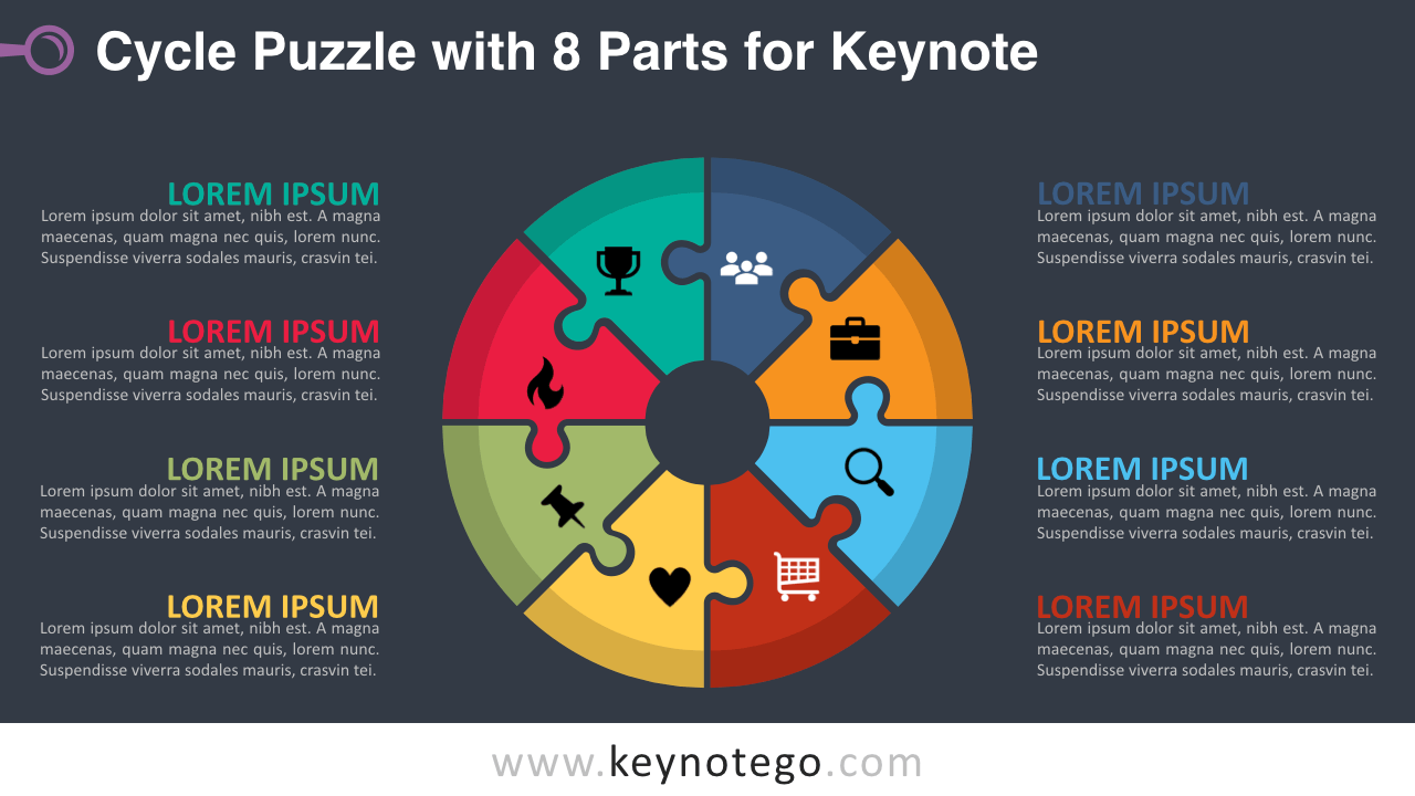 Cycle Puzzle 8 Parts Keynote Template - Dark Background