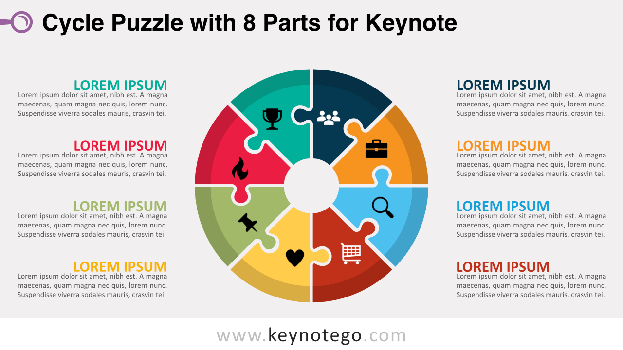 Cycle Puzzle 8 Parts Keynote Template