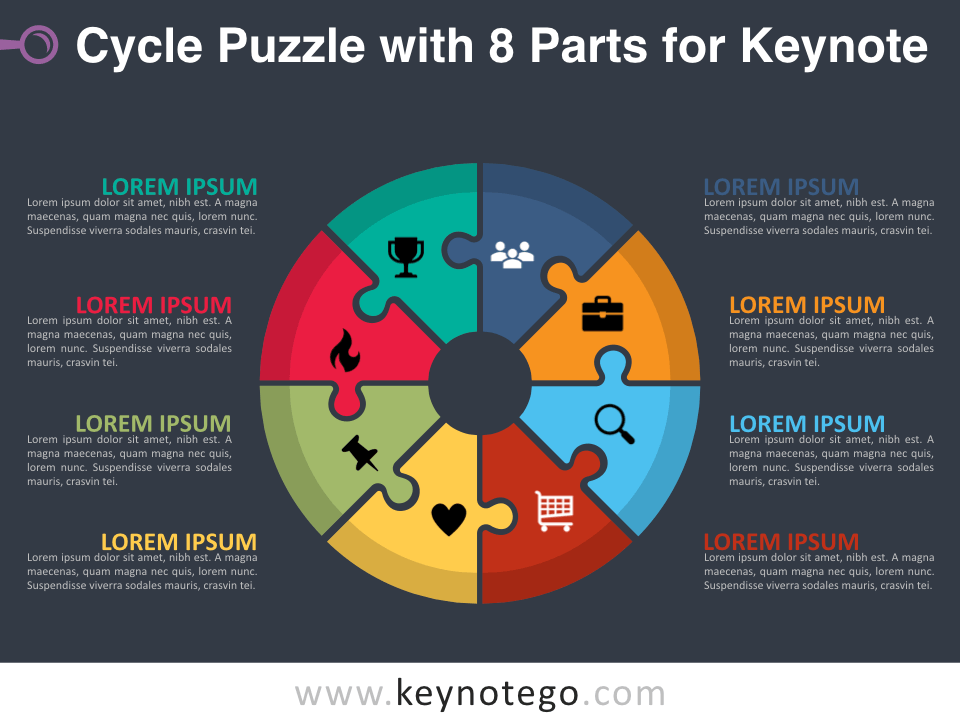 Cycle Puzzle 8 Parts for Keynote - Dark Background