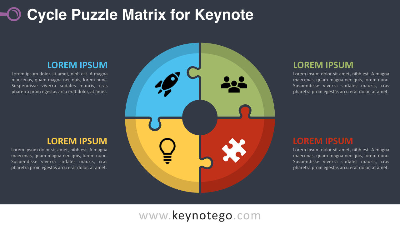 Cycle Puzzle Keynote Template - Dark Background