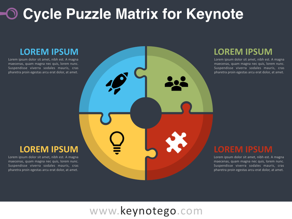 Cycle Puzzle Matrix for Keynote - Dark Background