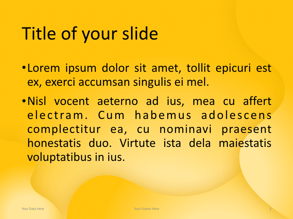 Fluids Keynote Template Yellow Title Content