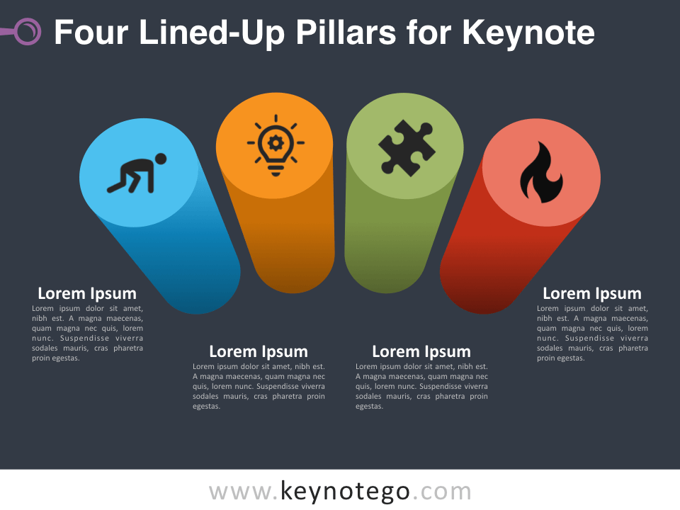 Four Lined-Up Pillars for Keynote - Dark Background