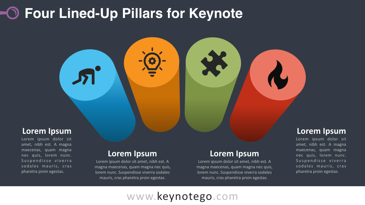 Four Lined Up Pillars Keynote Template - Dark Background