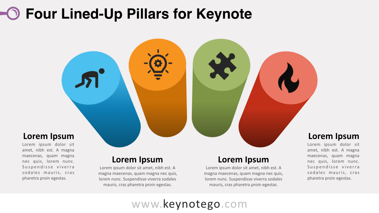 Four Lined Up Pillars Keynote Template