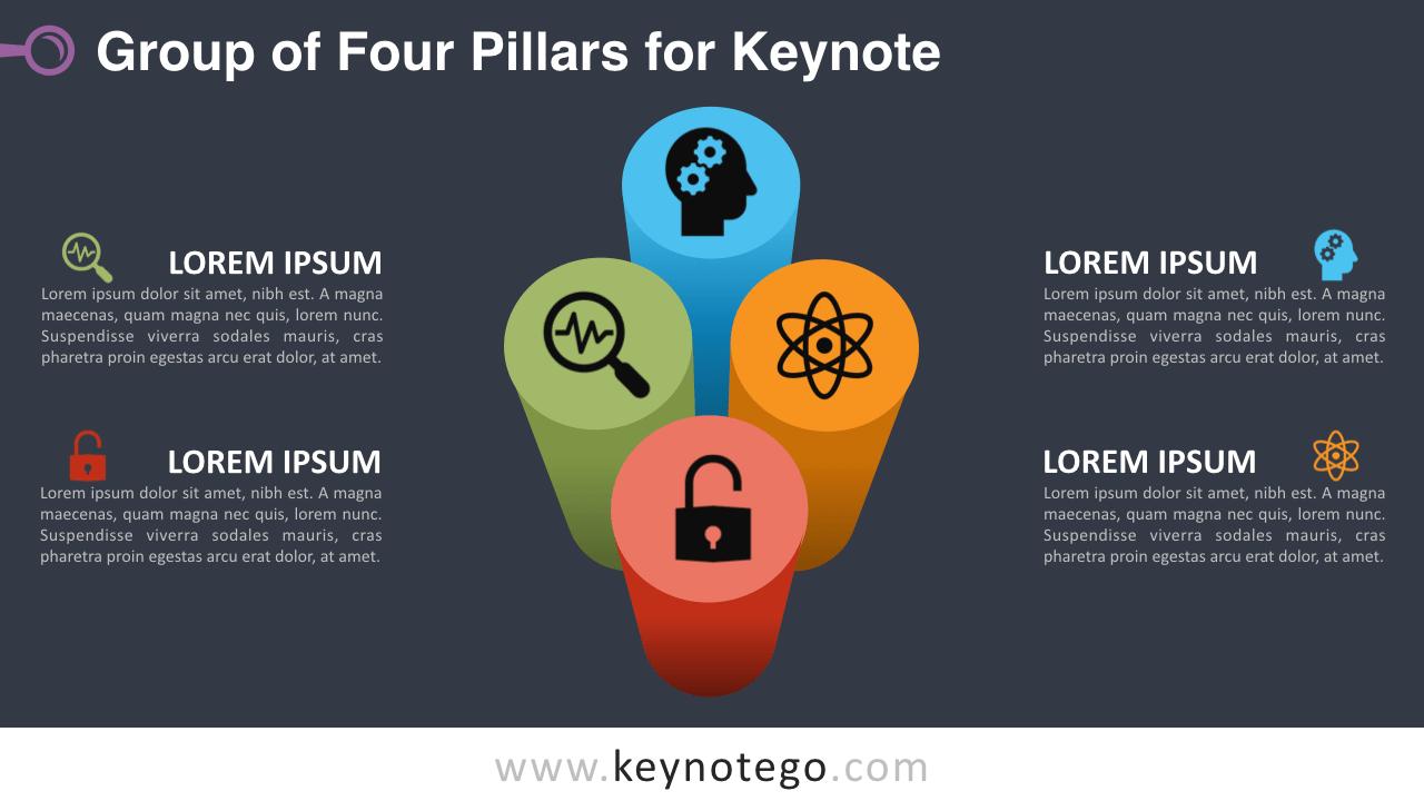 Group 4 Pillars Keynote Template - Dark Background
