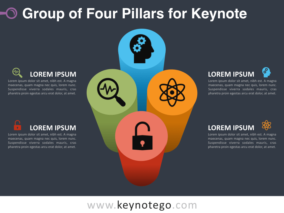 Group Four Pillars for Keynote - Dark Background