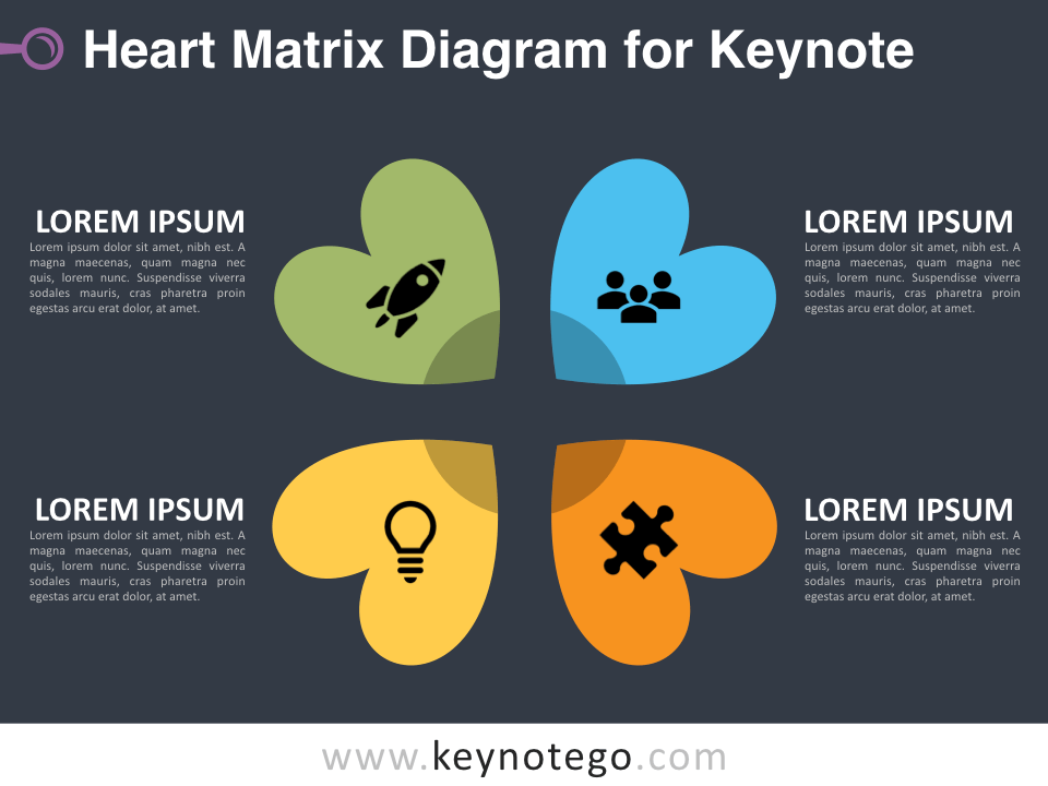 Heart Matrix Diagram for Keynote - Dark Background