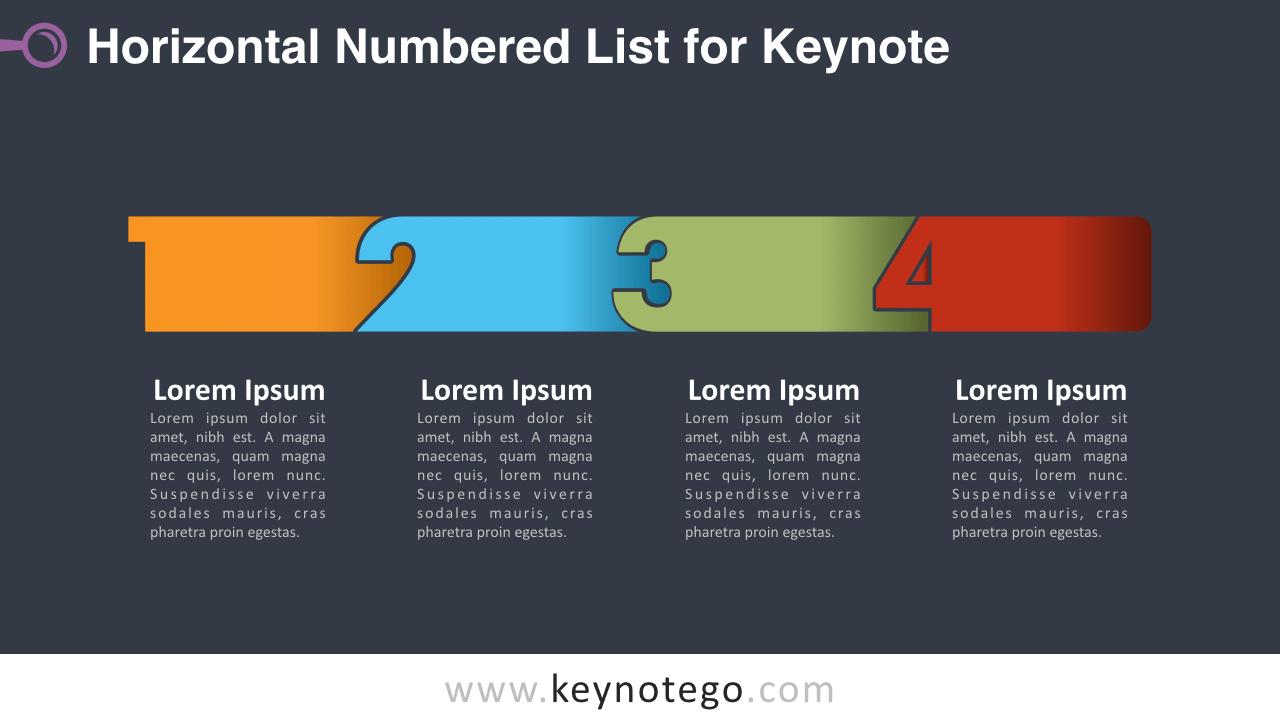 Horizontal List Numbers Keynote Template - Dark Background