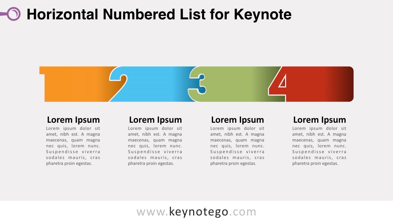 Horizontal List Numbers Keynote Template