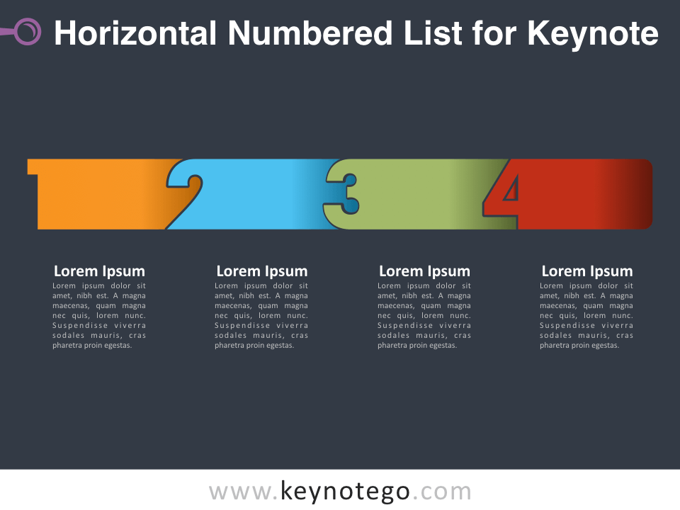 Horizontal Numbered List for Keynote - Dark Background