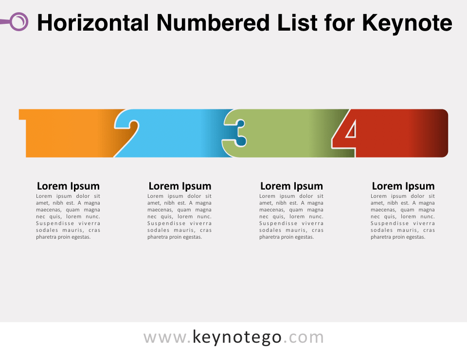 Horizontal Numbered List for Keynote