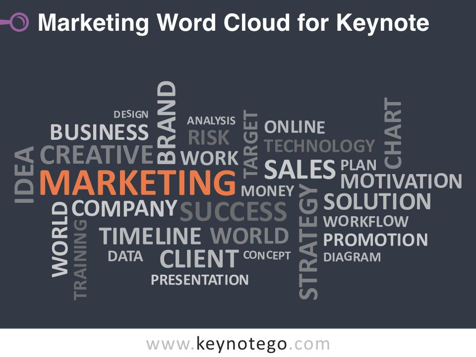 Marketing Word Cloud for Keynote - Dark Background