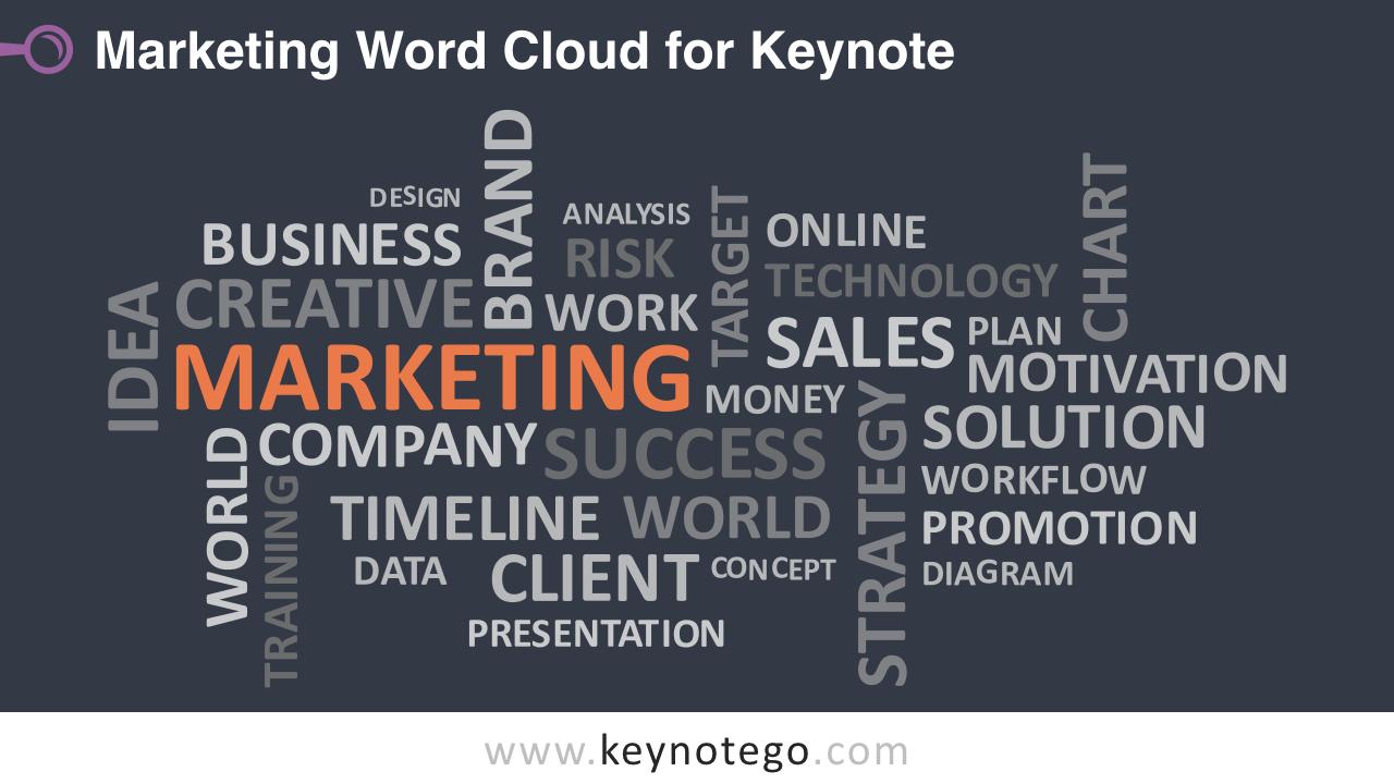 Marketing Word Tag Cloud Keynote Template - Dark Background
