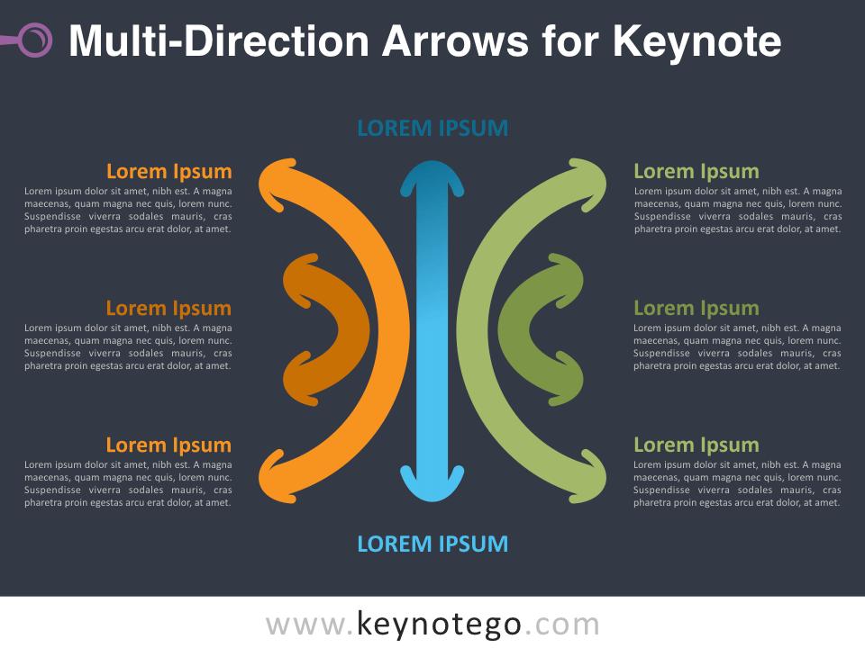 Multi-Direction Arrows for Keynote - Dark Background