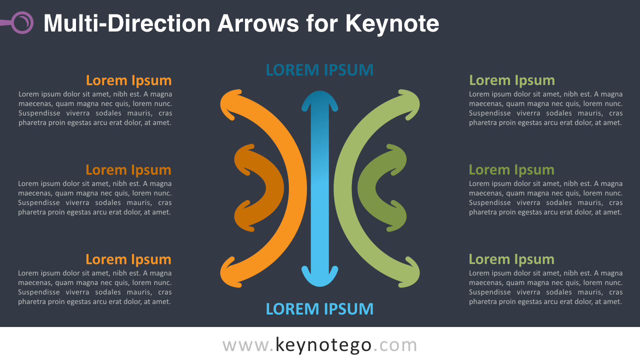 Multidirection Arrows Keynote Template - Dark Background