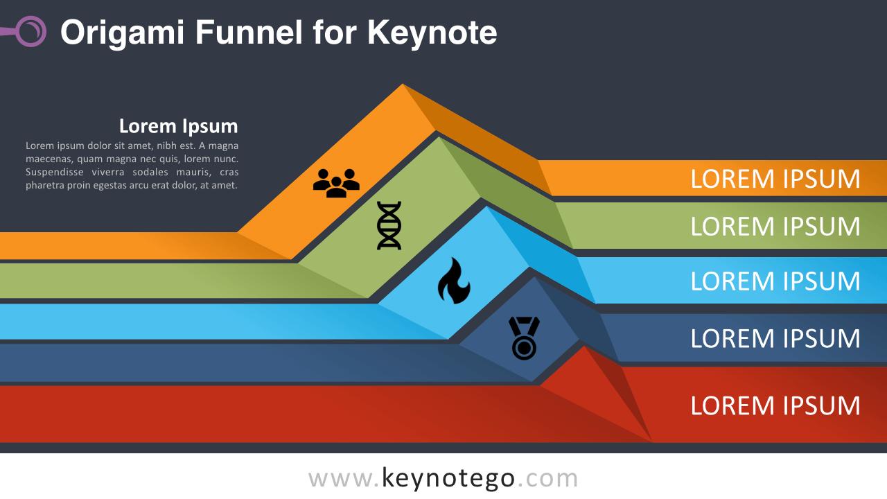 Origami Funnel Diagram Keynote Template - Dark Background