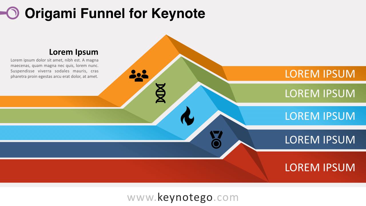 Origami Funnel Diagram Keynote Template