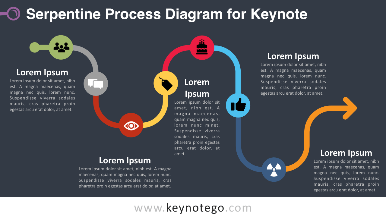 Rounded Rhombus Process Diagram Keynote Template - Dark Background