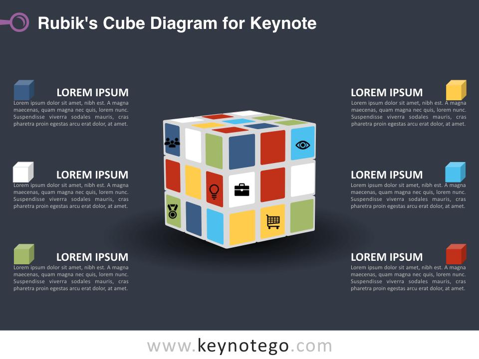 Rubiks Cube Diagram for Keynote - Dark Background