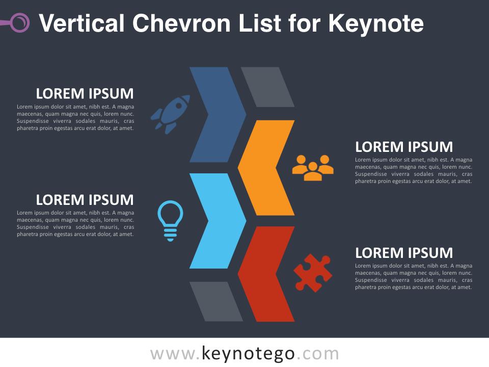 Vertical Chevron List for Keynote - Dark Background